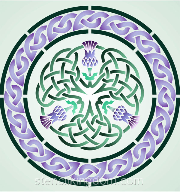 Three Thistle Celtic Circle Stencil Designs From Stencil Kingdom
