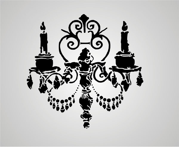 Wall Candles Gothic Stencil Design From Kingdom