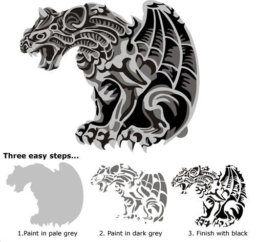Winged Gargoyle Gothic Stencil Design From Kingdom