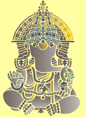 Indian Stencils : Decorated Ganesha