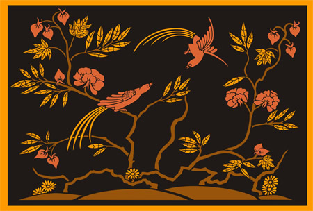 Charming Oriental Design From Black Laquer Cabinet (Japan14) 33 X 22inches $48 : Add