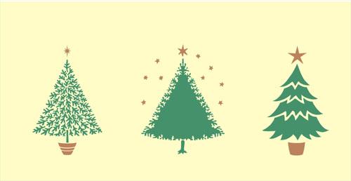 Set of three Christmas tree stencils