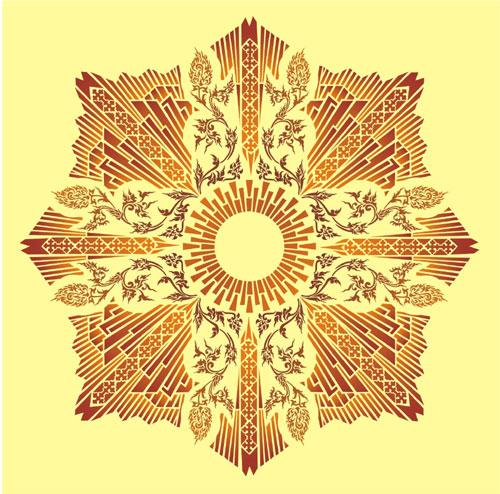Art Deco Sun Ceiling Design Stencil Designs From Stencil
