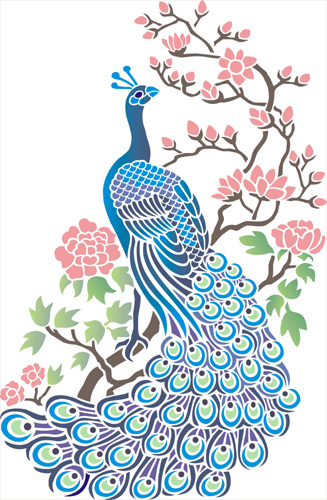 Peacock With Blossom Stencil Designs From Stencil Kingdom
