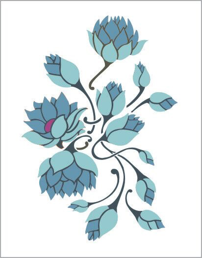 Lotus Flowers Stencil Designs From