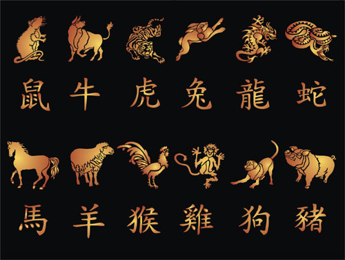 Chinese Calender Animals With Matching Calligraphy Oriental Stencil