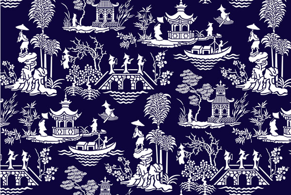 Wallpaper design with pagodas oriental stencil designs from stencil kingdom
