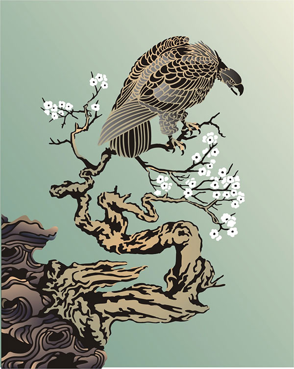 Eagle watching for prey Oriental Stencil Designs from