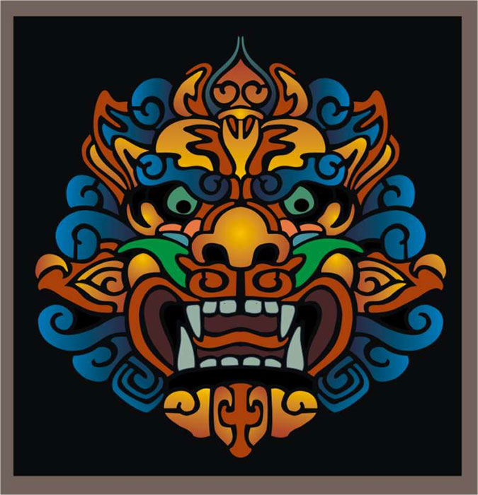 Chinese Dragon Mask B Oriental Stencil Designs from ...